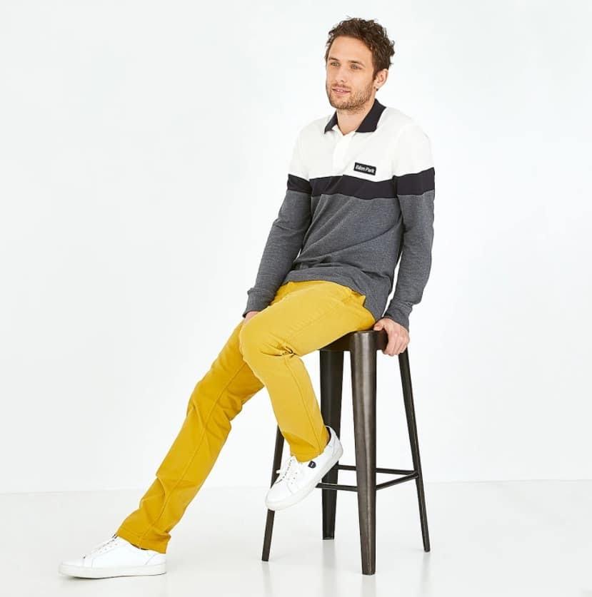 Pantalon chino jaune en coton stretch Eden Park