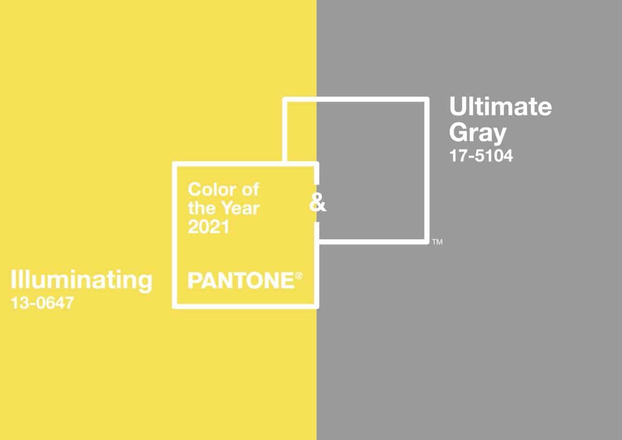 Ultimate Gray et Illuminating, les deux couleurs Pantone 2021