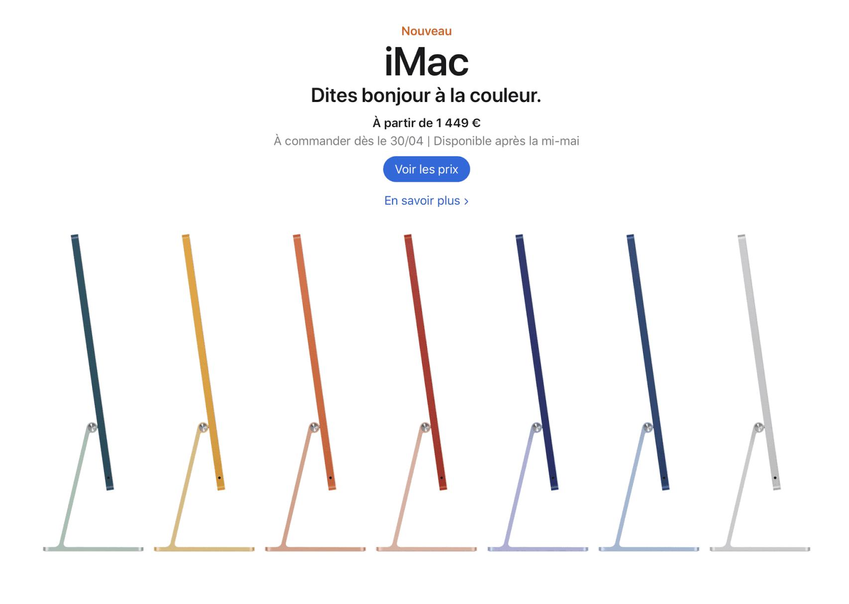 Apple iMac M1 2021 les 7 couleurs