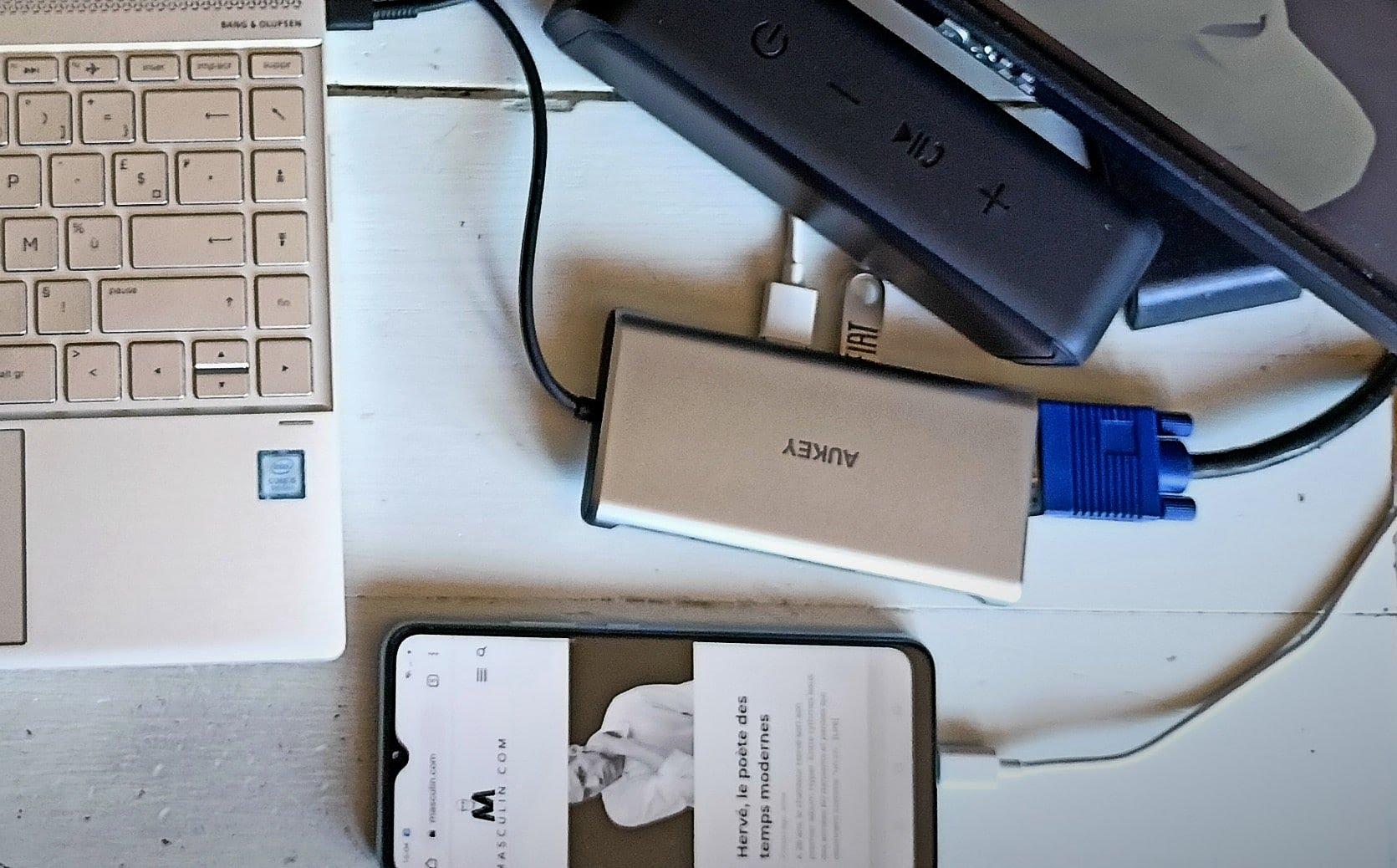 Accessoires pour le télétravail - Hub USB Aukey