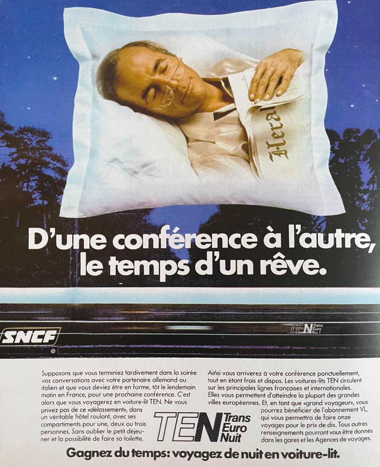 Publicité de la SNCF pour les trains de nuit