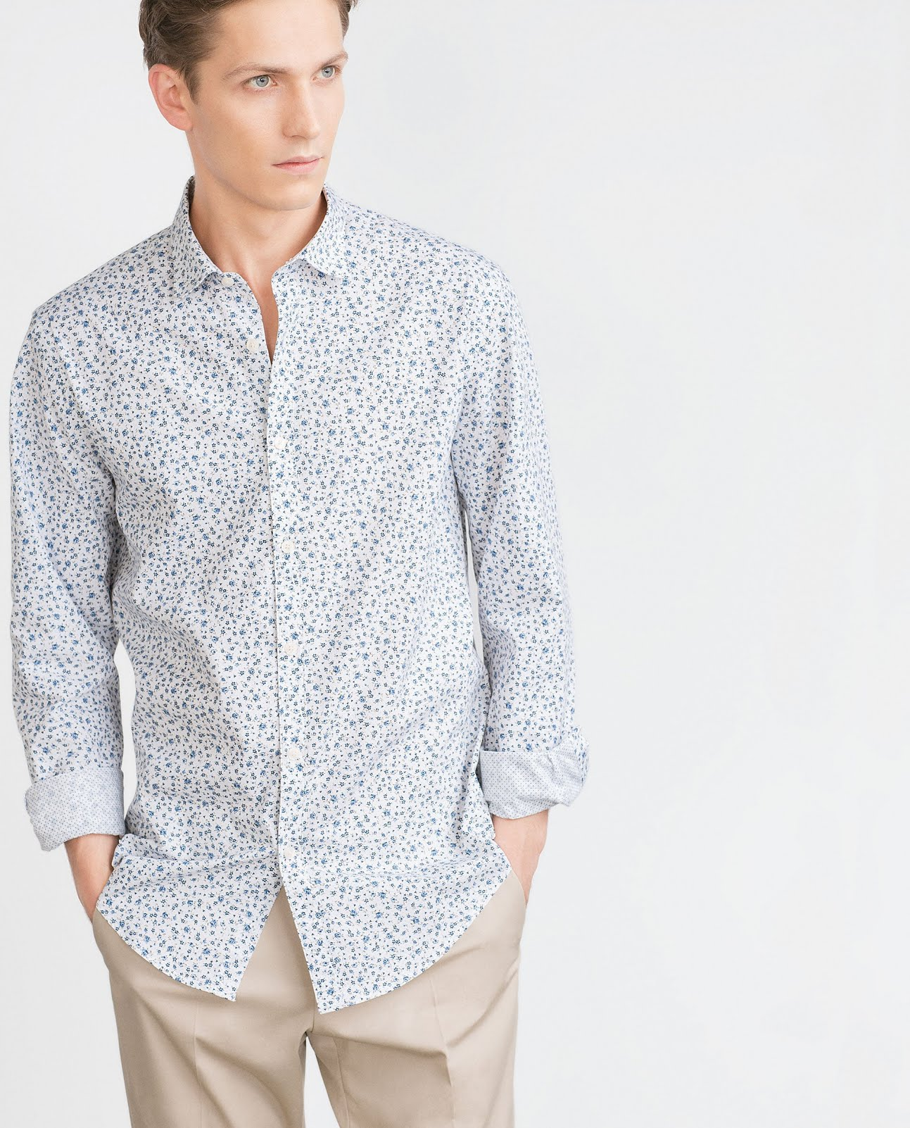Chemise à imprimés floraux