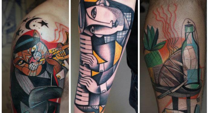 12 photos de tatouage en mode cubiste