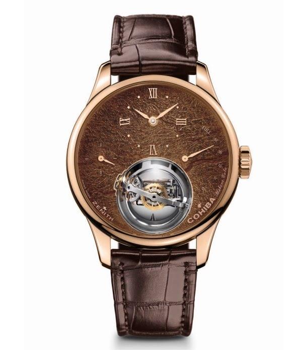 Or rose et cuir brun pour la montre Academy Christophe Colomb Tribute To Cohiba
